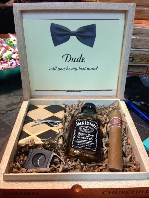 Groomsmen Boxes by DessyEtsy on Etsy. But with an orange bow tie instead of blue.