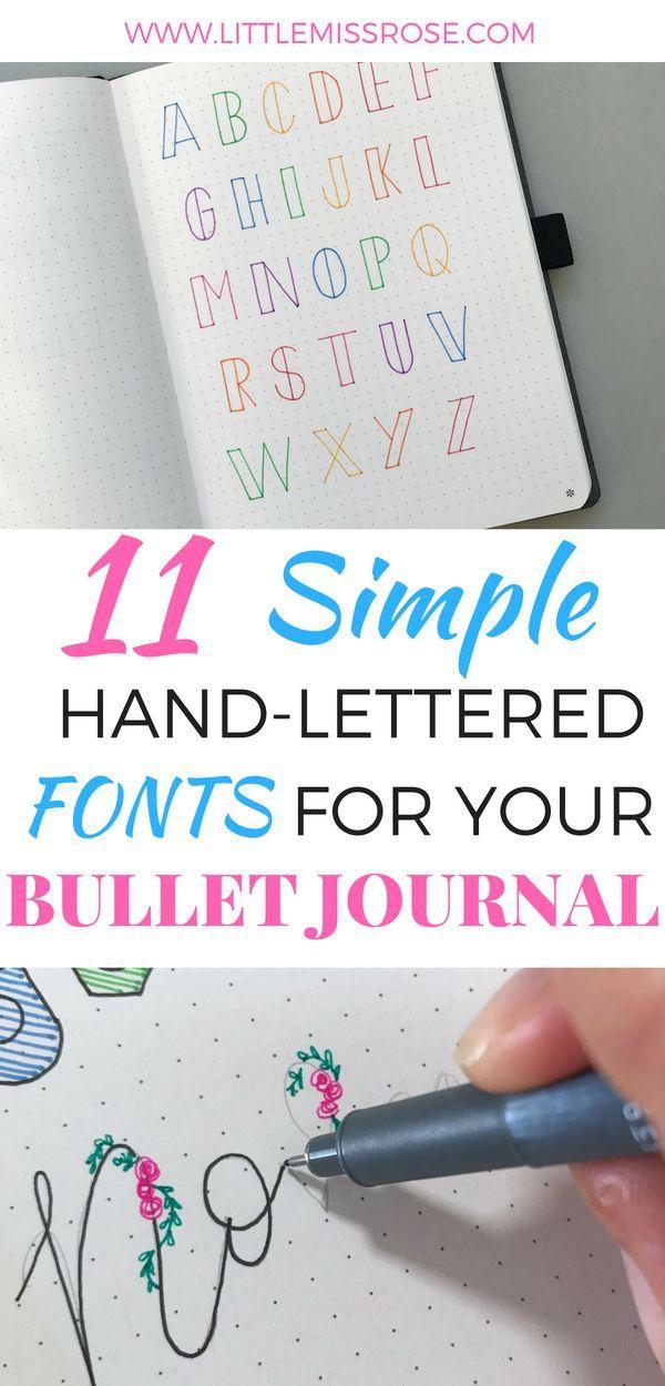 Möchten Sie einige einfache Beispiele für handgeschriebene Schriftarten für Ihr Bullet-Journal? Klicken Sie auf h