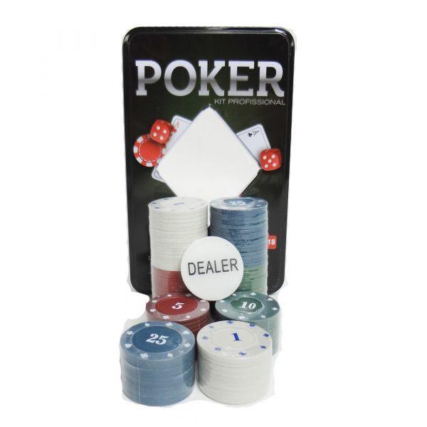 Jogo de Poker Texas Holdem Kit Profissional 100 Fichas