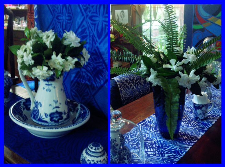 Still thinking of you... With Gardenias... Handblocked table runner and fabric drops...