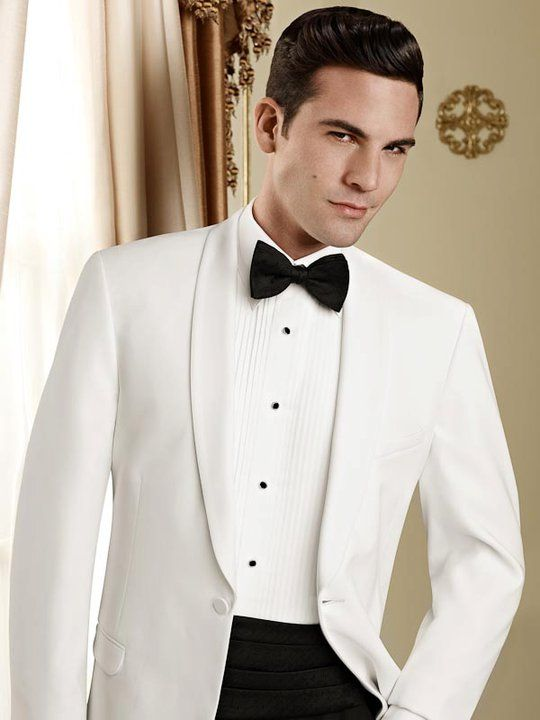 Classy White Dinner Jacket   perfect for spring/summer events  new rental inventory or brand new pruchase  www.burchandhatfield.com