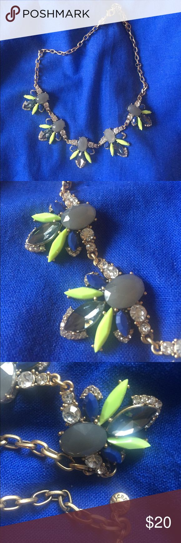 J Crew Necklace Gold, blue, grey and green J Crew necklace J. Crew Jewelry Necklaces