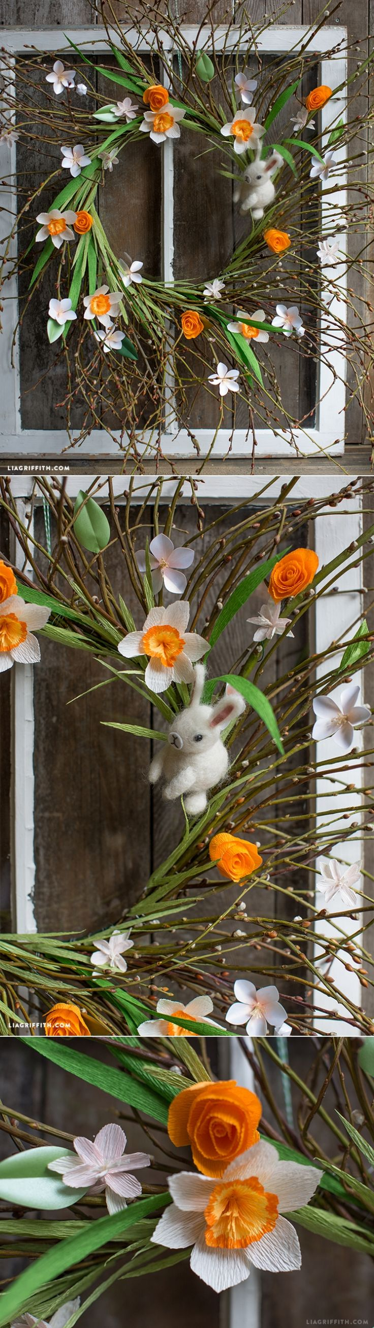 DIY : Create Your Own Spring Wreath and learn how to make paper flowers for it | www.LiaGriffith.com: