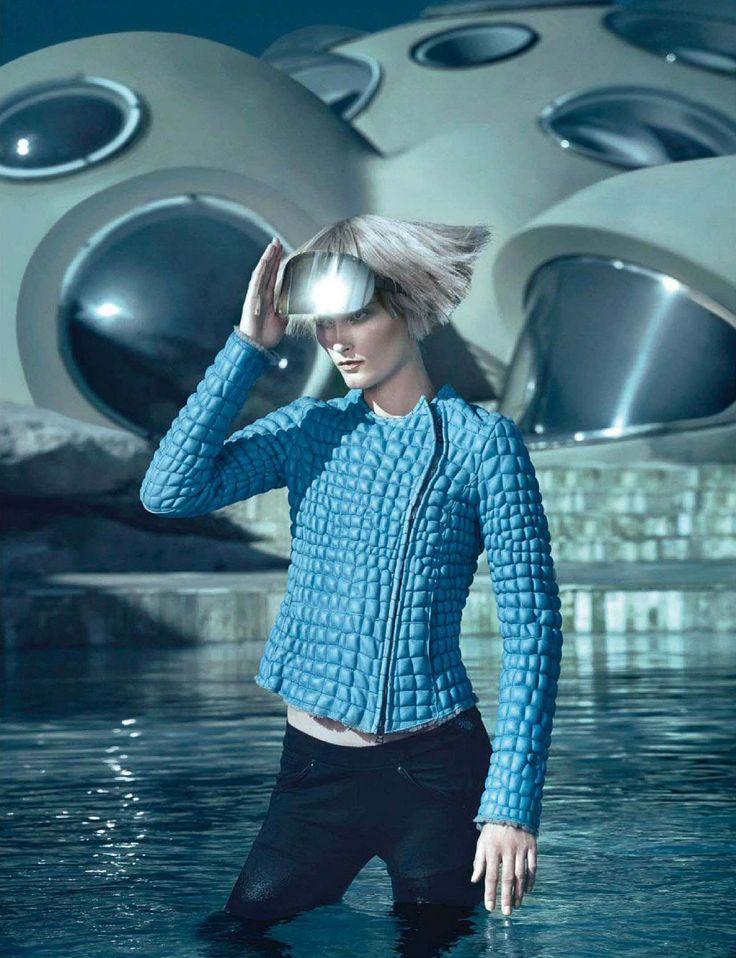 "Glamour Italia, Oct 2014 ""Era Spaziale"" Model: Iekeliene Stange Photo: Sandrine Dulermo & Michael Labica Stylist: Laurent Dombrowicz"