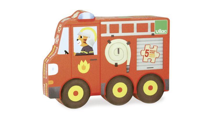Első jármű forma puzzle szett fából, 5 fajta járművel 2 éves kortól - Vilac