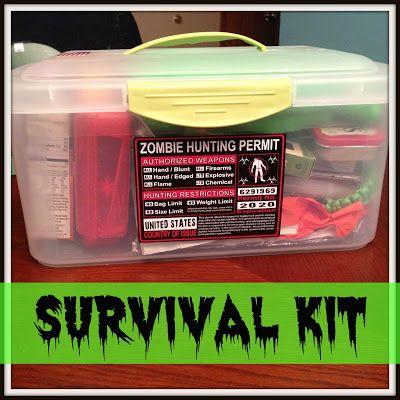 Zombie Apocalypse Survival Kit-great care package idea. This would make a funny Halloween hostess gift. #zombieapocalypse #Halloweenhostessgift