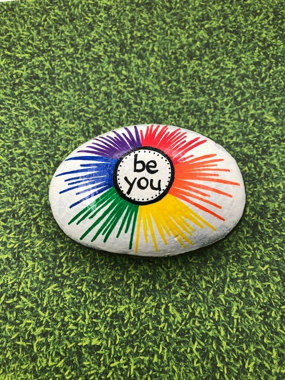 Be You Rock, Rainbow Rock, Rainbow Painted Rock, Words of Encouragement Stone, Affirmation Rocks, Painted Rock, Be You Rainbow Painting – Kelly Hagen