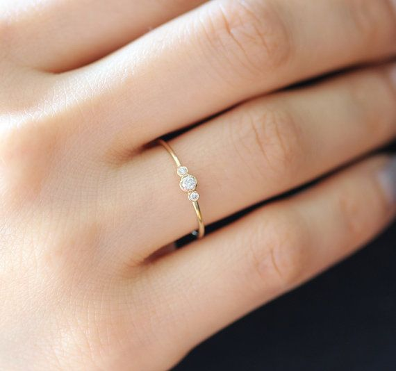 Three Stone Round Brilliant Cut Diamond Engagement Ring, Thin 3 Stone Dainty Bezel Set Engagement Ring, Three Stone Bezel Diamond Ring
