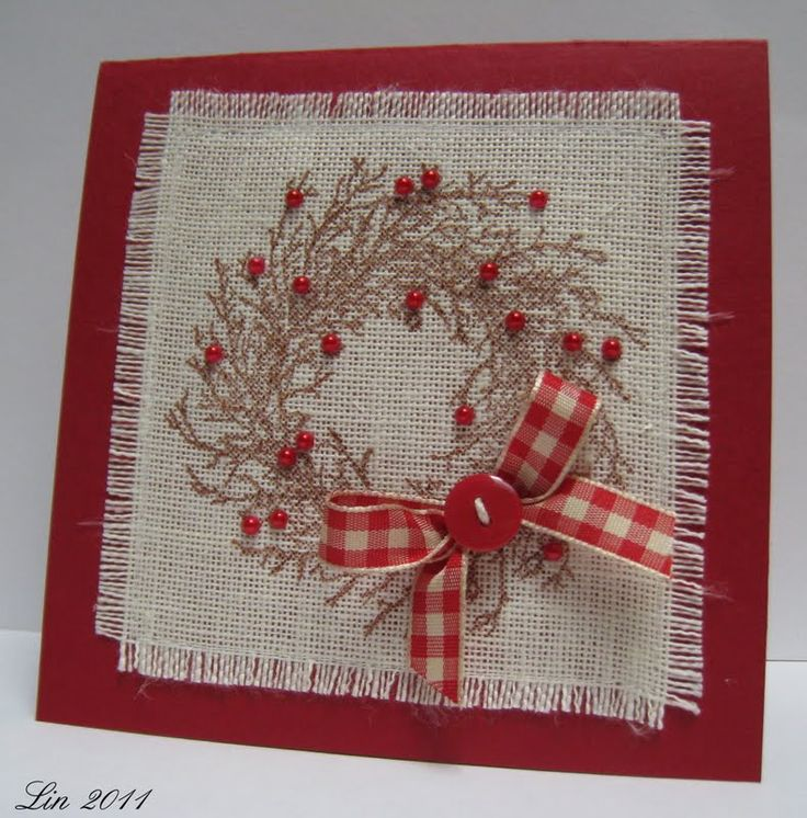 fabric and beads: Embroidered Christmas Cards, Cards Ideas, Beads Nice, Cards Burlap Vintage Rust, Beads Cards, Autumn Crosses, Atc S Cards Tags, Photo, Fun Cards