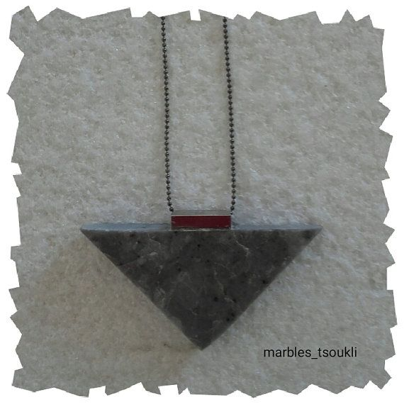 Grey Marble Necklace in silvered metal army by Marblestsoukli