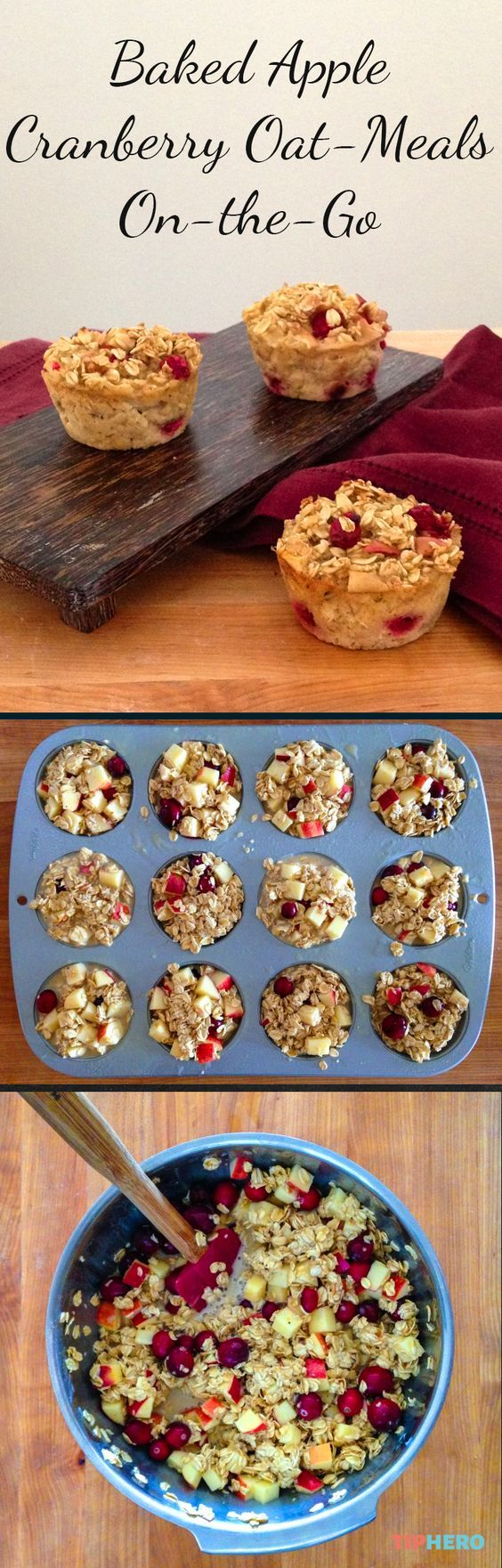 Baked Apple Cranberry Oat-Meals On-the-Go | Start your day off right with this healthy breakfast muffin. Bake ahead and grab and go! Click for the recipe.