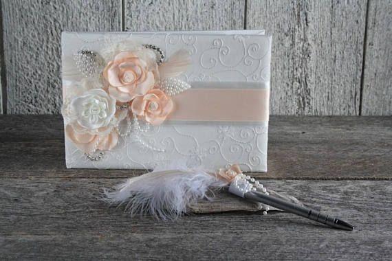 Livre d'or mariage satin dentelle ivoire fleurs corail