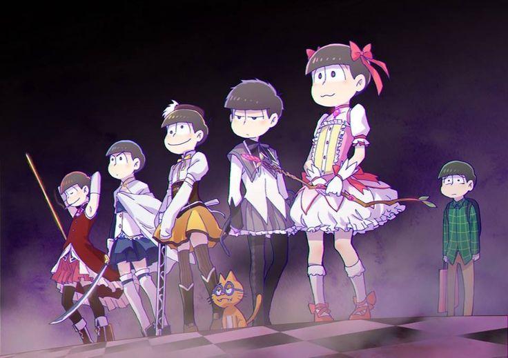 Osomatsu, Karamatsu, Ichimatsu, Jyushimatsu, and Todomatsu (and Choromatsu in the back) Madoka Magica parody
