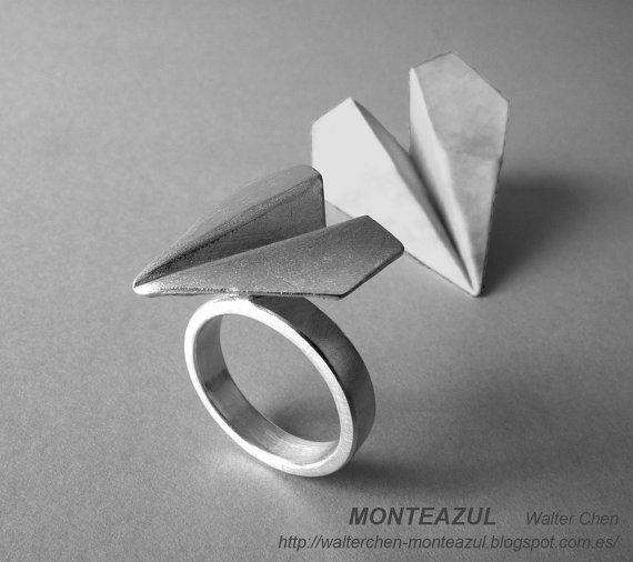 Origami aeroplano anello argento aeroplano anello di monteazul