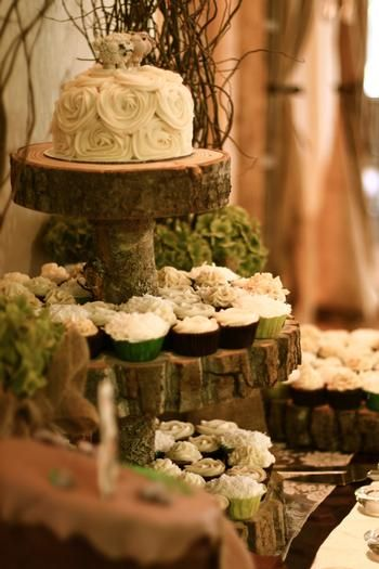 Rustic wedding cake and cupcake display...I LOVE THIS ALL- the rustic look plus the classic feminine look of the top layer...perfection