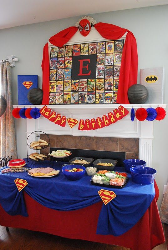 Superman party decoration super hero party pinterest for Decoration chambre super heros