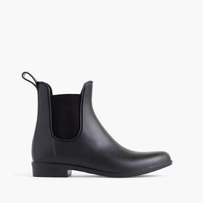 Matte Chelsea Rain Boots, Black, Size 9, J.Crew