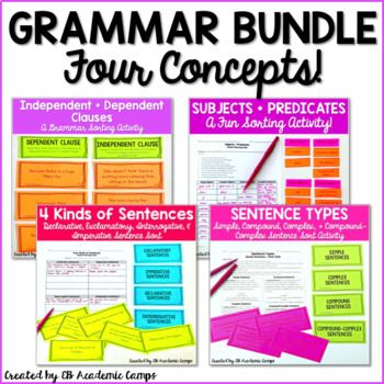 This is a grammar bundle that focuses on sentences! All activities are sorting activities that are great for individual practice, whole group practice, partner practice, or even for centers activities!What is included in this bundle?This bundle contains the following FOUR grammar resources:- Subjects + Predicates Sort Activity- Independent + Dependent Clauses Sort Activity- Four Kinds of Sentences Sort Activity- Sentence TypesClick on each link to see what is included in each of the four…