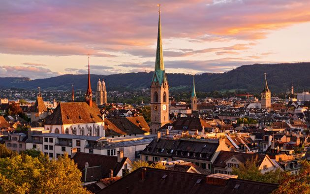Dusk Appearing Over The City of Zurich