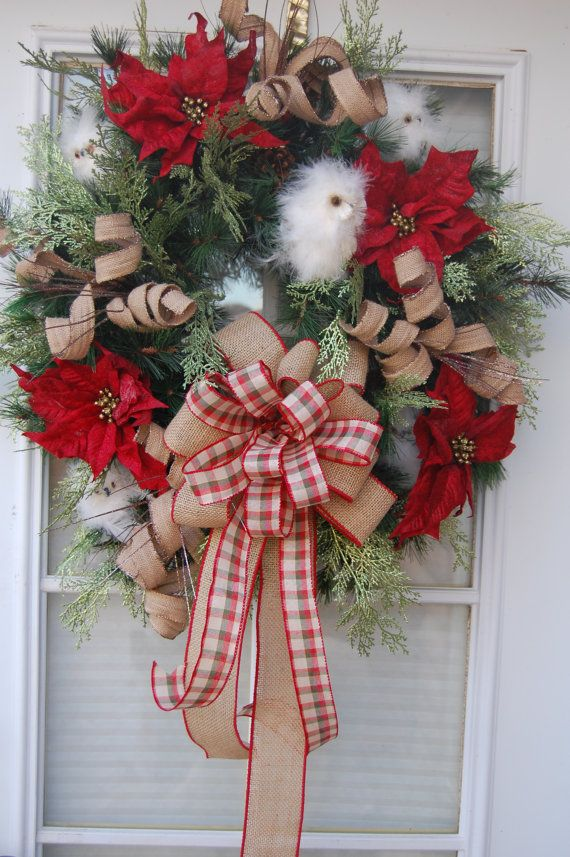 Christmas Wreath Owl Christmas Wreath Red by HangingTouches