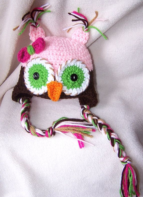 Maybe diaper cake topper?    Newborn Owl Hat Baby Girl With Bow and Tassels - free shipping-. $22.00, via Etsy.