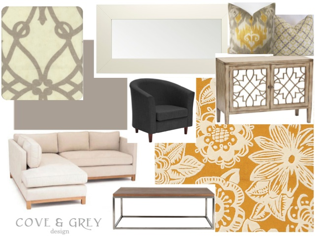yellow and grey: Decor Ideas, Yellow Families Rooms, Inspiration, Living Rooms Design, Color, Cove, Families Rooms Design, Rugs, Grey Families Rooms