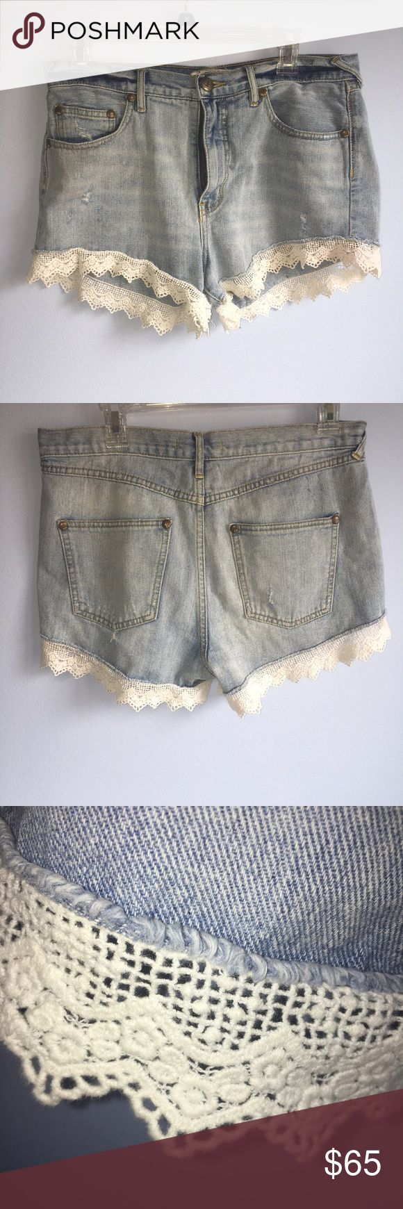 Free people lace jean shorts Hardly worn Free People faded jean shorts with lace detailing. Well made and really flattering! Free People Shorts Jean Shorts