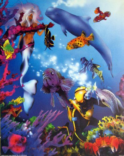 This wall art poster will be the focal point of your room. This poster captures the image of ocean lady mermaid and lot of fish, beautiful view of underwater life is sure to grab lot of attention. It will be a great addition for any home or museum and ensures high quality with perfect color accuracy. Enjoy your surroundings.