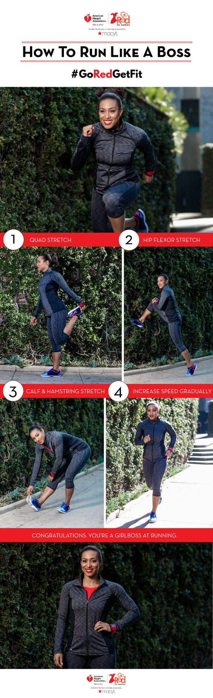 Before hitting the pavement, there are different stretches that can maximize your time running. Try these to loosen up your legs for more miles, and more heart-healthy time! #Fitness