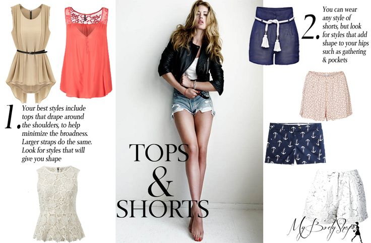 tops and shorts for an inverted triangle body shape