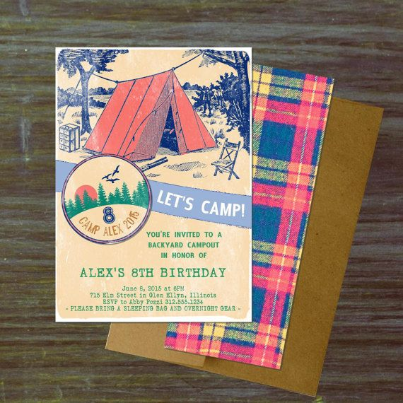 The 25 best Camping birthday invitations ideas – Camping Birthday Invitations