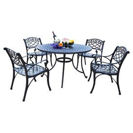 "Weather-resistant aluminum table with four chairs.   Product: 1 Table and 4 chairsConstruction Material: Solid-cast aluminum Color: Charcoal Features:   Transitional styleDesigned for style and built to last Choice of table sizeDimensions:   Chair: 33"" H x 22"" W x 23"" D eachSmall Table: 30"" H x 42"" Diameter  Large Table: 30"" H x 48"" Diameter"
