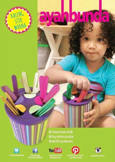 """Saatnya mengajak si kecil jadi lebih kreatif dengan #idemainAB """"KALENG STIK WARNA"""" seperti di foto ini.  Yang #ayah dan #bunda butuhkan sebuah kaleng bekas, lengkap dengan tutupnya, kertas kado, kertas origami (atau kertas polos diwarnai), gunting, lem/selotip, dan stik es krim kayu diwarnai sesuai kertas origami.  Coba lihat, bisakah #balita Anda memasukkan stik kayu ke dalam kaleng sesuai warna yang tertera?  Note : #balita belajar: Mengenal warna, berhitung, konsentrasi, dan ketelitian"""
