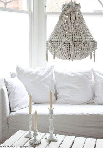 Handmade beaded chandelier, White -- #favorite #chandelier I've ever laid eyes on.