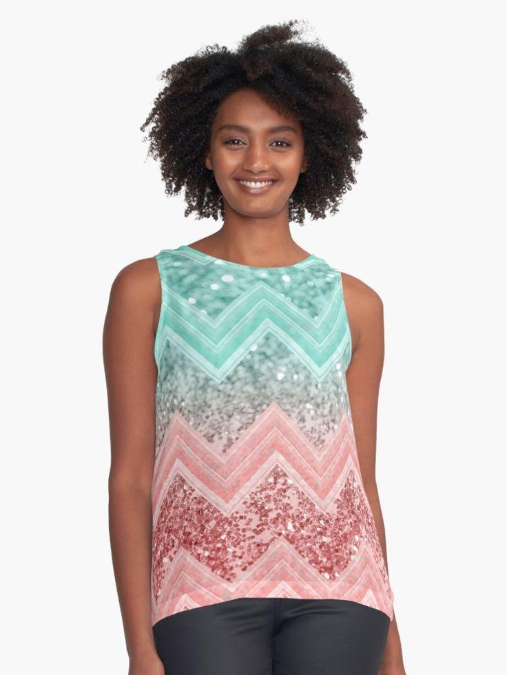 """Summer Vibes Glitter Chevron #1 #coral #mint #shiny #decor #art "" Contrast Tank by anitabellajantz   Redbubble"
