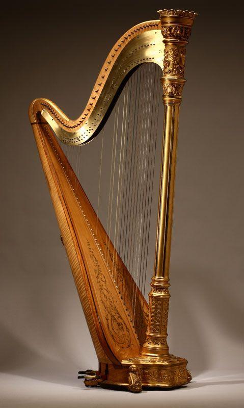 Lot# 1143 A Lyon & Healy Style 22 Gold semi-grand parcel-gilt maple 46 string harp.  est: $4000/6000 *Price Realized: $11,500.00