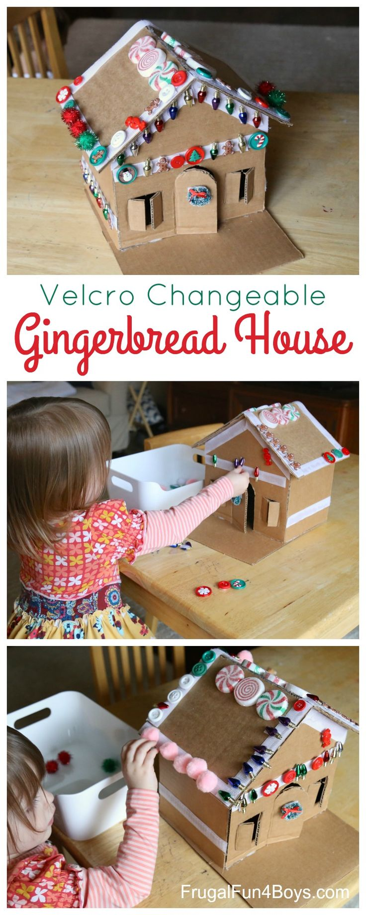 Decorate (and Redecorate) this Adorable Velcro Gingerbread House! Fun Christmas activity for preschoolers.