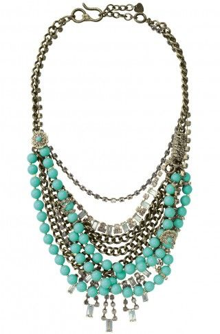Antiqued cupchain is hand wrapped & woven around strands of turquoise beads. Would be the perfect piece for any ball gown this season or wear it with plain T and jeans for a real statement piece this will take you all through the year not just the season.