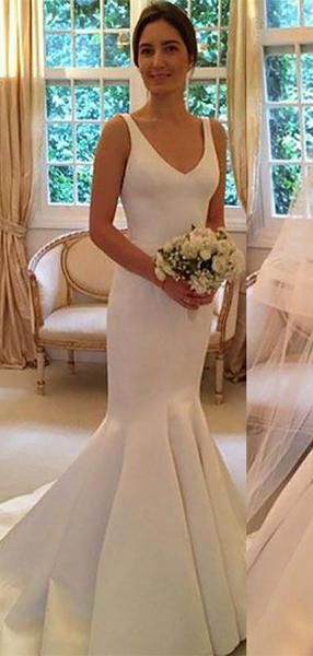 Simple Backless V Neck Cheap Mermaid Wedding Dresses Online, WD421