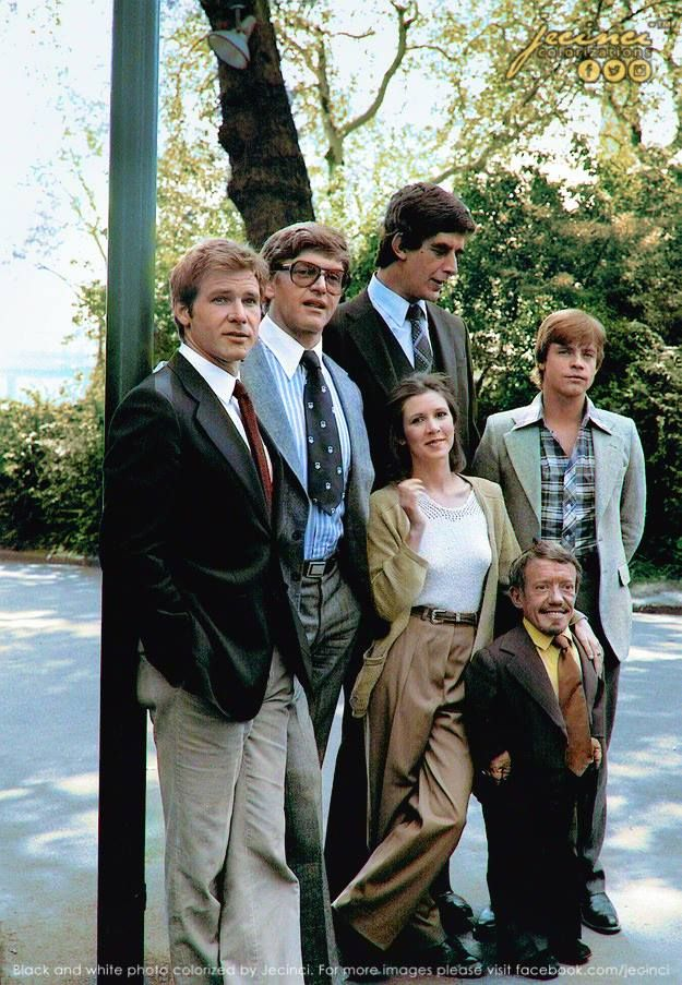 Colorized - Star Wars cast out of costumes: Harrison Ford (Han Solo), David Prowse (Darth Vader), Peter Mayhew (Chewbacca), Carrie Fisher (Princess Leia), Mark Hamill (Luke Skywalker) and Kenny Baker (R2-D2)