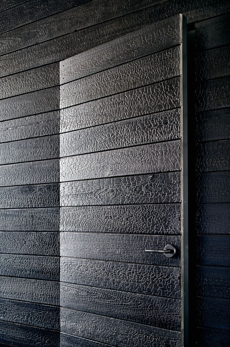 La technique du bois brûlé ou Shou Sugi Ban || Lakefront Austin home par Aamodt Plumb Architects