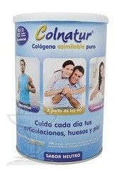 Colnatur es un complemento alimenticio rico en colágeno que ayuda a mejorar el funcionamiento de articulaciones, huesos, músculos y piel. http://plazafarma.com/colnatur-300-g.html