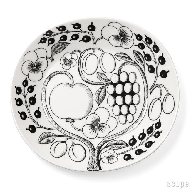 Black-and-white Arabia Paratiisi plate