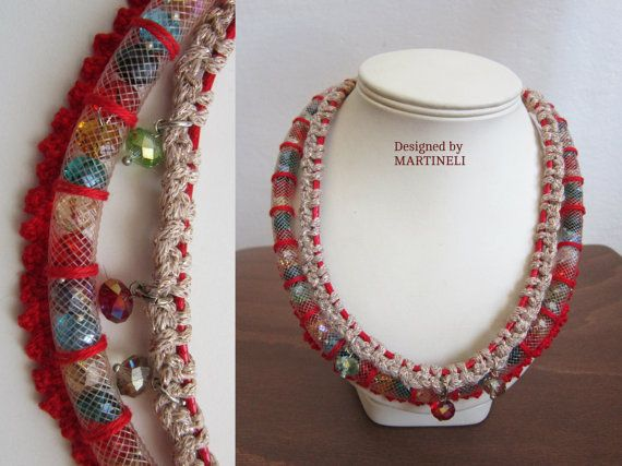 Rode Boho Chic ketting verklaring haak Beaded Boho door MARTINELI