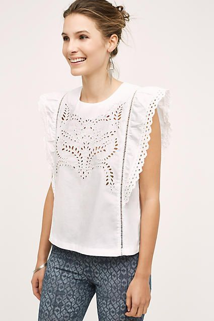 Moon River Pastora Eyelet Blouse #anthrofave