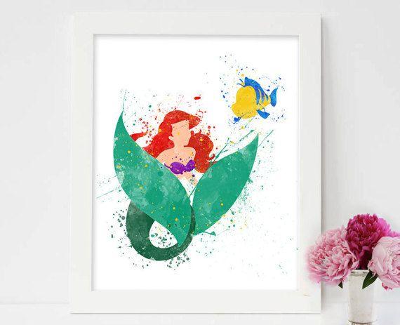 The little mermaid, ariel watercolor, princess ariel print, ariel and eric, frozen mermaid elsa and ariel art, ariel & eric painting, disney  #Disney #ariel #flounder #thelittlemermaid