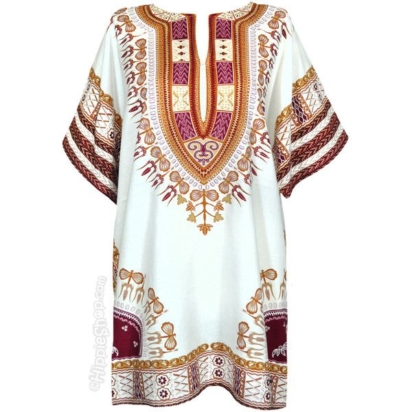 Natural Dashiki Shirt on Sale for $15.95 at The Hippie Shop ($44) ❤ liked on Polyvore featuring tops, dresses and shirts