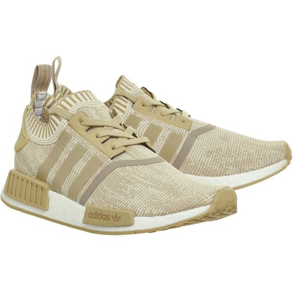 Adidas Nmd R1 Prime Knit Linen Khaki Off White ($170) ❤ liked on Polyvore featuring home, home decor and adidas