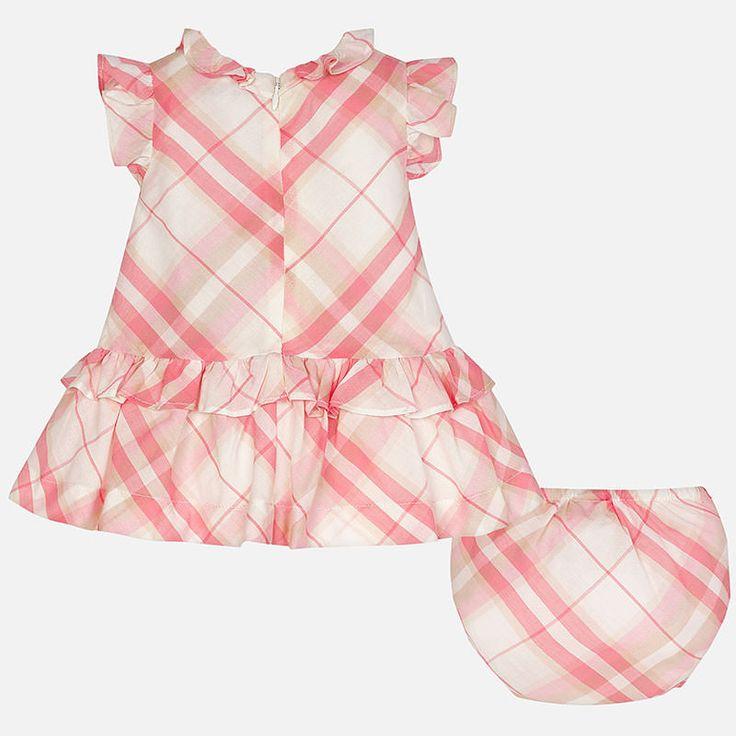 Mayoral Kız Bebek Yazlık Kısa Kol Ekose Elbise Kayısı Rengi