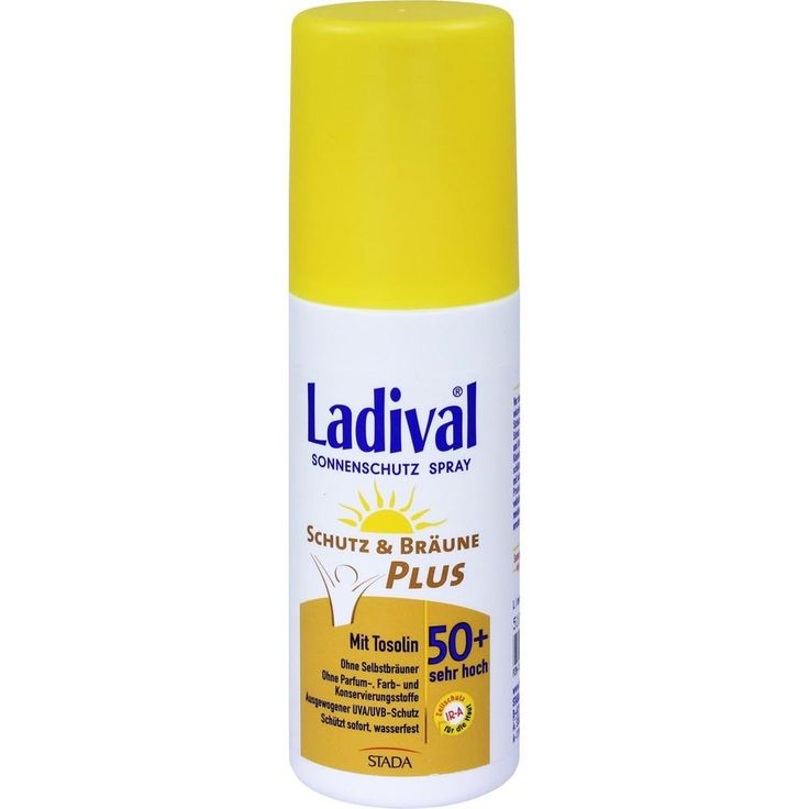 LADIVAL Schutz&Bräune Plus Spray LSF 50+:   Packungsinhalt: 150 ml Spray PZN: 10333843 Hersteller: STADA GmbH Preis: 14,54 EUR inkl. 19 %…